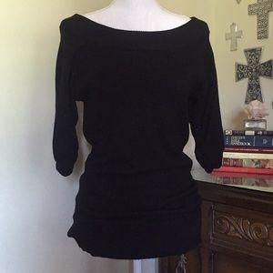 Black, 3/4 sleeve, wide neck sweater